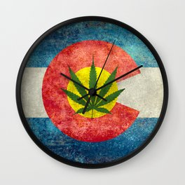 Retro Colorado State flag with the leaf - Marijuana leaf that is! Wall Clock