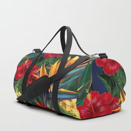Tropical Paradise Hawaiian Floral Illustration Duffle Bag