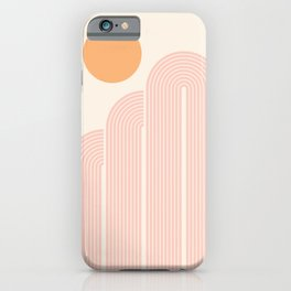 Mid Century Modern Geometric 41 in Coral Shades (Rainbow and Sunrise Abstraction) iPhone Case