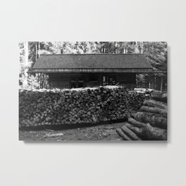 Woodcutter's hut, black and white photography Metal Print