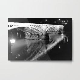 Black white bridge night photography Metal Print