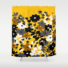 SUNFLOWER TOILE YELLOW GOLD BLACK GRAY AND WHITE Shower Curtain