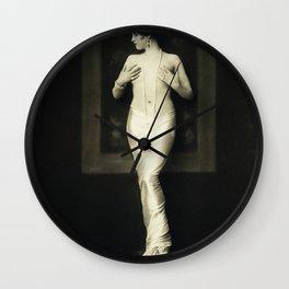 Jean Ackerman Statuesque in Pearls - Ziegfeld Follies Jazz Age black and white photograph Wall Clock