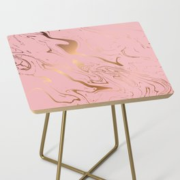 Liquid marble texture design, pink and gold Side Table