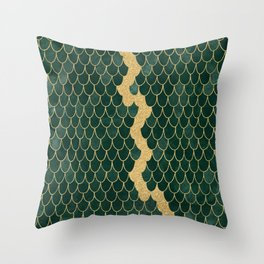 Mermaid Fin Gold Streak // Emerald Green Glittery Scale Watercolor Gradient Bedspread Home Decor Throw Pillow