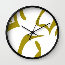 Geometric Abstract Floral Design Pattern Mustard  Wall Clock