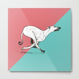 Run Greyhound! Metal Print