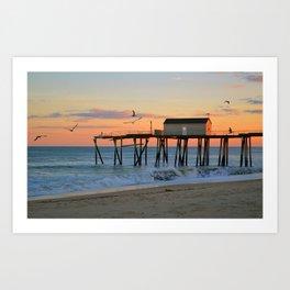 Pier at Sunset Art Print