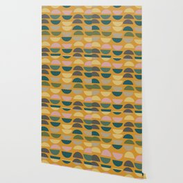Geometric Graphic Design Shapes Pattern in Mustard Yellow Wallpaper