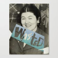 wasted rita Canvas Prints featuring WASTED by Elizabeth Bello