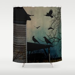 Rustic Black Birds Crows on Abandoned House Porch Teal Art A605 Shower Curtain