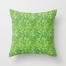 Funny green frogs entangled in a messy pattern Throw Pillow