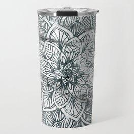 Indie Floral Mandla on White Marble Travel Mug