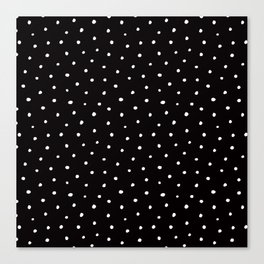 Minimal- Small white polka dots on black -Mix & Match with Simplicty of life Canvas Print