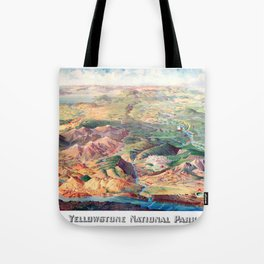 YELLOWSTONE WYOMING IDAHO city old map Father Day art print poster Tote Bag