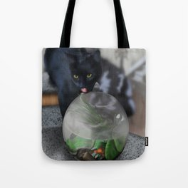 Black Kitty Cat with Fish in Fishbowl Tote Bag