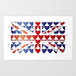 UK Union Jack Hearts Flag Cool Britannia Art Print