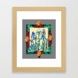 Ornate Grey-Wine-Turquoise  Color Iris Garden Art Design Framed Art Print