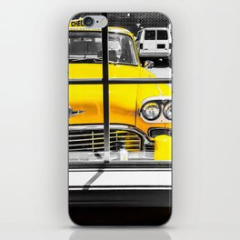 vintage yellow taxi car with black and white background iPhone Skin