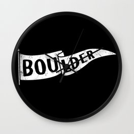 Boulder Colorado Pennant Flag B&W // University College Dorm Room Graphic Design Decor Black & White Wall Clock