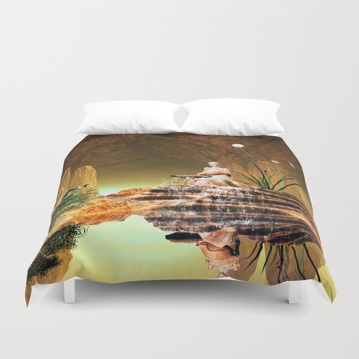 The mysterious underwater cave Duvet Cover
