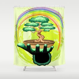 Bonsai Tree and Rainbow on Green Hand - Protecting Nature Shower Curtain