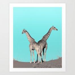 Extravagant giraffes Art Print
