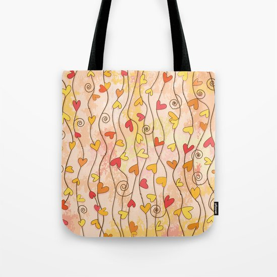 Heart and Spiral Botanic Pattern III - Fall Love Tote Bag