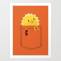 sunshine Art Prints featuring Pocketful of sunshine by Picomodi