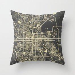 Denver map yellow Throw Pillow