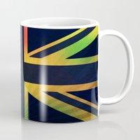 british flag Mugs featuring RASTA BRITISH FLAG by shannon's art space