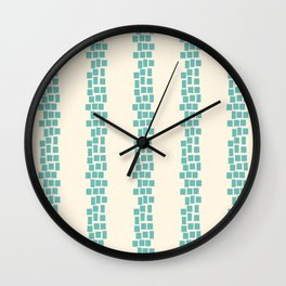 Turquoise irregular rectangles on beige Wall Clock