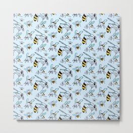 Bees Insect Beekeeping Pattern Gift Metal Print