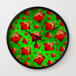 many little red gifts with golden bow on green Wall Clock