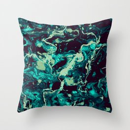 Neon cyan Glow splash on black Liquid paint art Throw Pillow