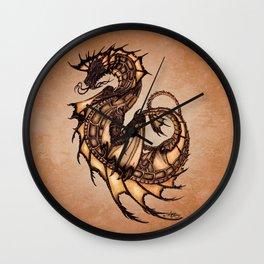 """Tsunami"" by Amber Marine ~ Sea Dragon (Amber Gem Version) ~ Graphite Illustration, (Copyright 2005) Wall Clock"