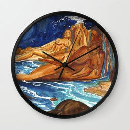 Moon Bathing Babes - Watercolor painting of Earth and Ocean Goddesses Wall Clock