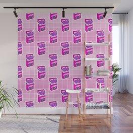 Loveboro cigarette packs pattern / girly stickers / pink grid Wall Mural