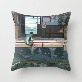 High Tide Tracks Throw Pillow