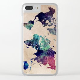 Cold World Map Clear iPhone Case