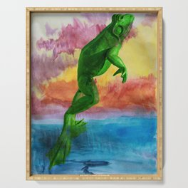 Frog jumping out of lake into sunset Serving Tray