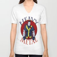 heavy metal V-neck T-shirts featuring Heavy Metal by Iron King