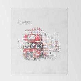 Graphic Art LONDON WESTMINSTER Street Scene Throw Blanket