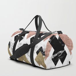 Modern geometric chevron black white marble rose gold foil gold triangles pattern Duffle Bag