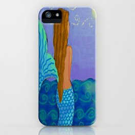 Mermaid Watching The Sun Abstract Digital Painting iPhone Case