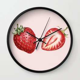 Pink Strawberry Wall Clock