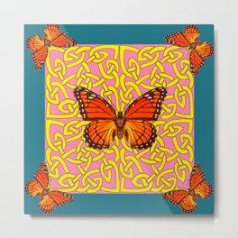 Teal Color Orange Monarch Butterflies Celtic Coral Art Metal Print