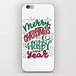 Merry Christmas and Happy New Year Typography iPhone Skin