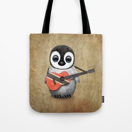 Baby Penguin Playing Trinidadian Flag Guitar Tote Bag