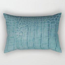 Croco leather effect - Aqua blue Rectangular Pillow